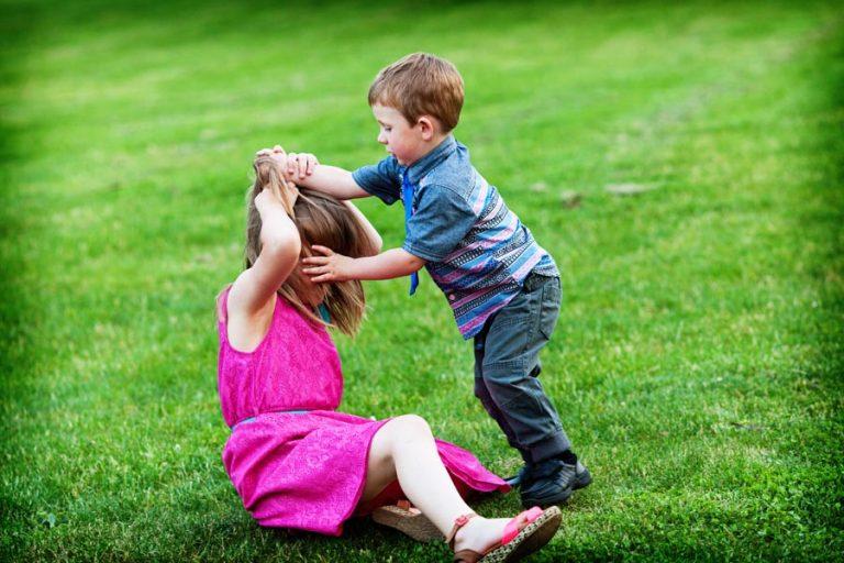 children fighting at wedding
