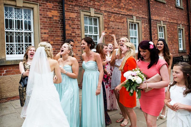 bride and guests at Rufford Abbey