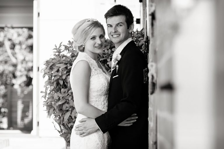 bride and groom portrait at home in Newark