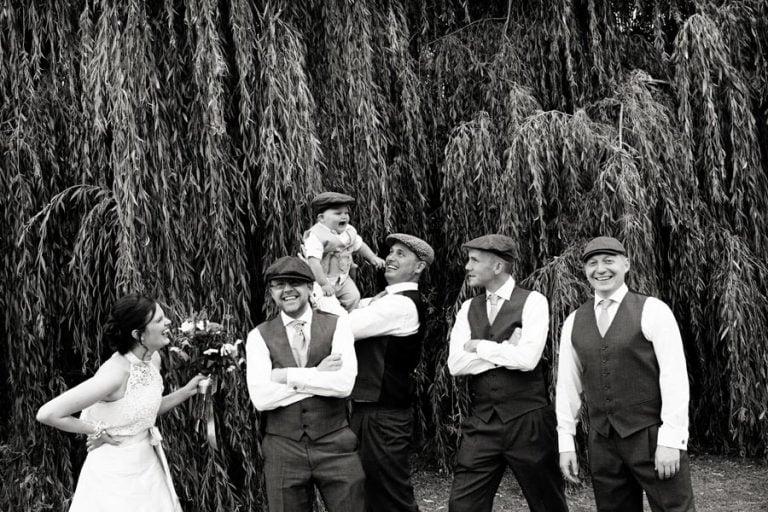 bride and groom with groomsmen at belvoir