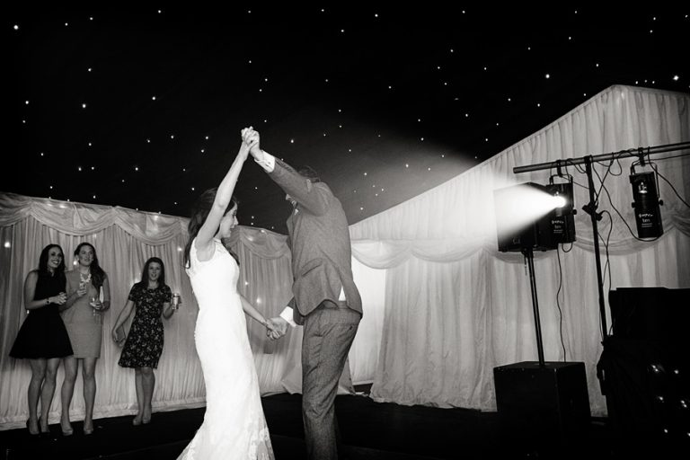 bride and groom's first dance in marquee nottingham
