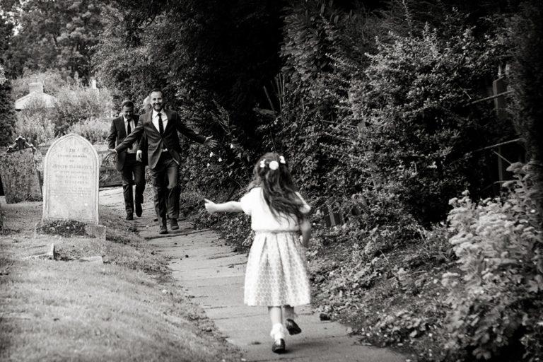 girl running to dad at church