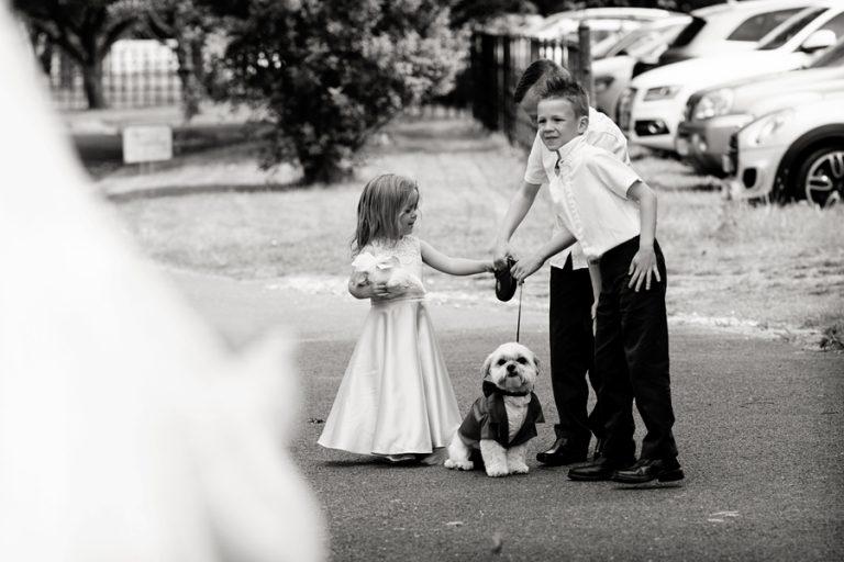 children with dog at wedding at Kelham House