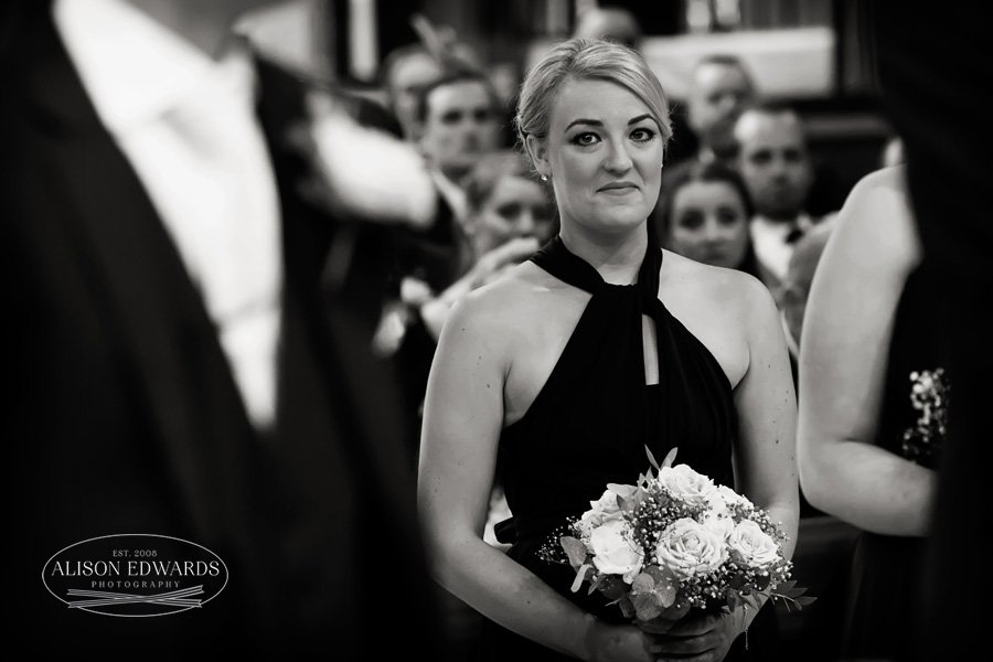 bridesmaid smiling in church