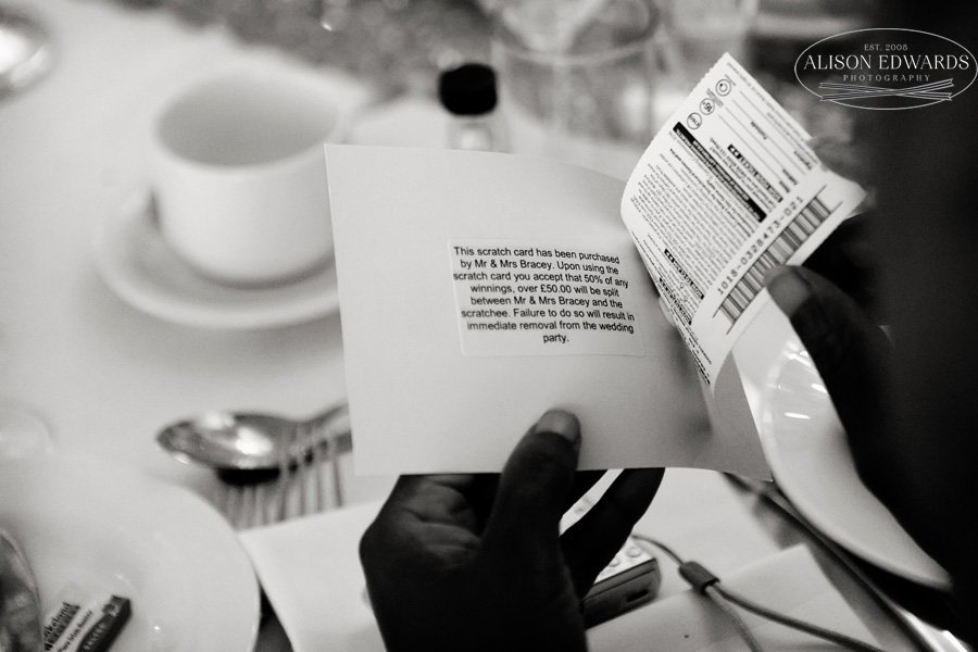 lottery ticket for wedding guests with message on