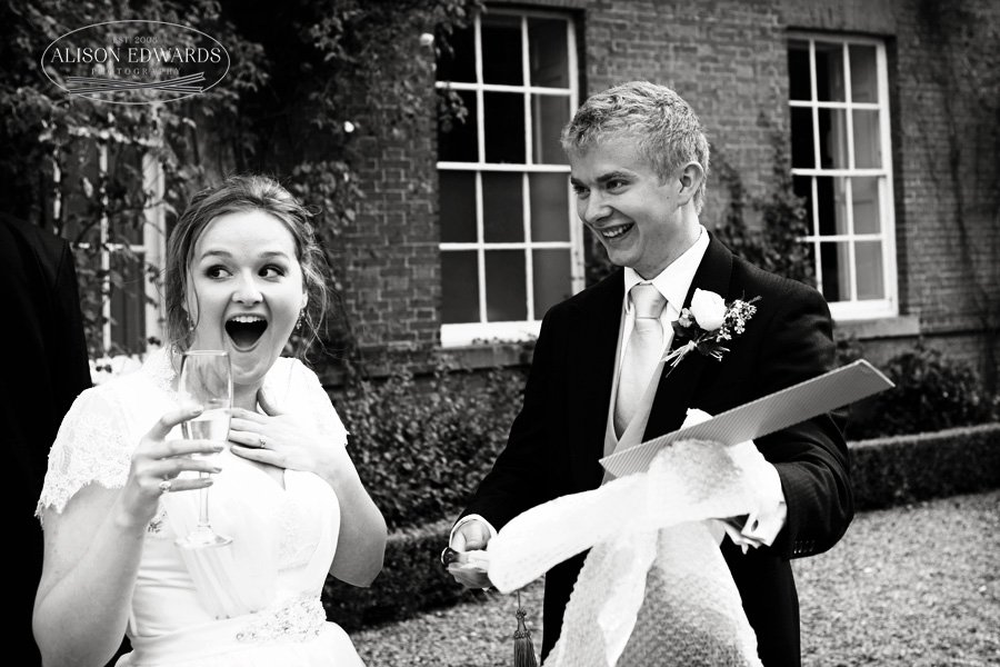 Surprised bride at Norwood Park Nottingham