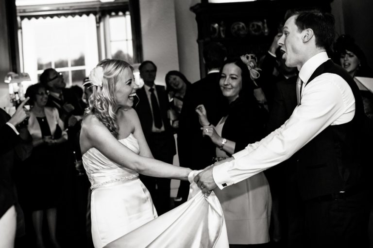 Nottingham wedding photography captures bride and groom dancing at Prestwold Hall