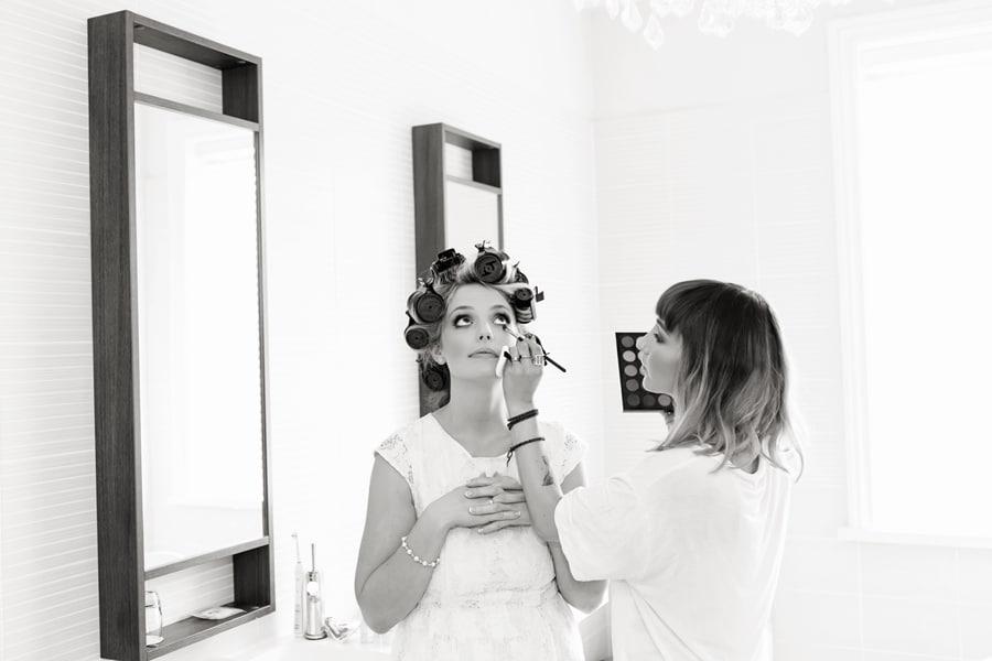 bride having make-up done at old vicarage
