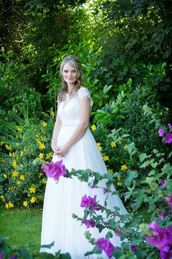 bride in gardens weddings at the old vicarage boutique hotel