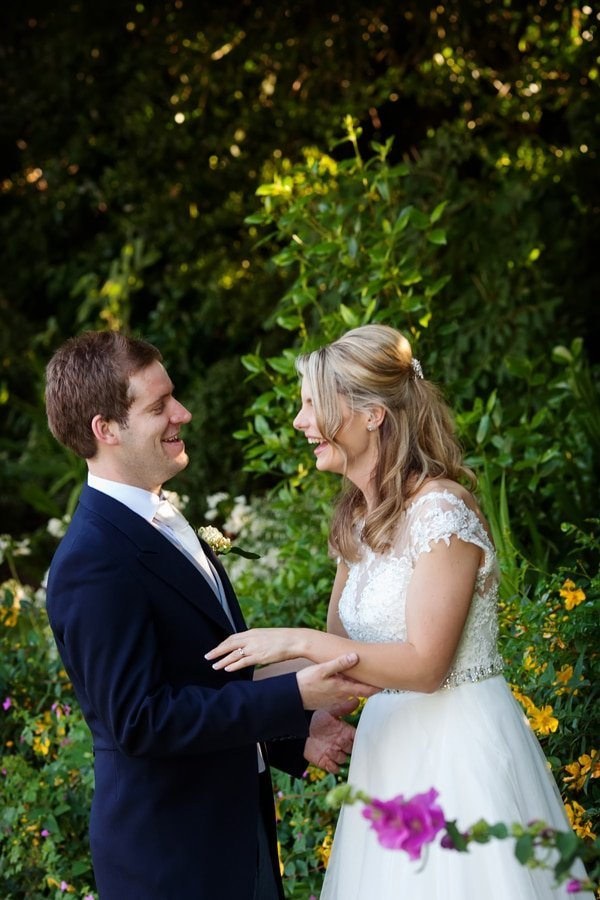bride and groom laughing at old vicarage boutique hotel