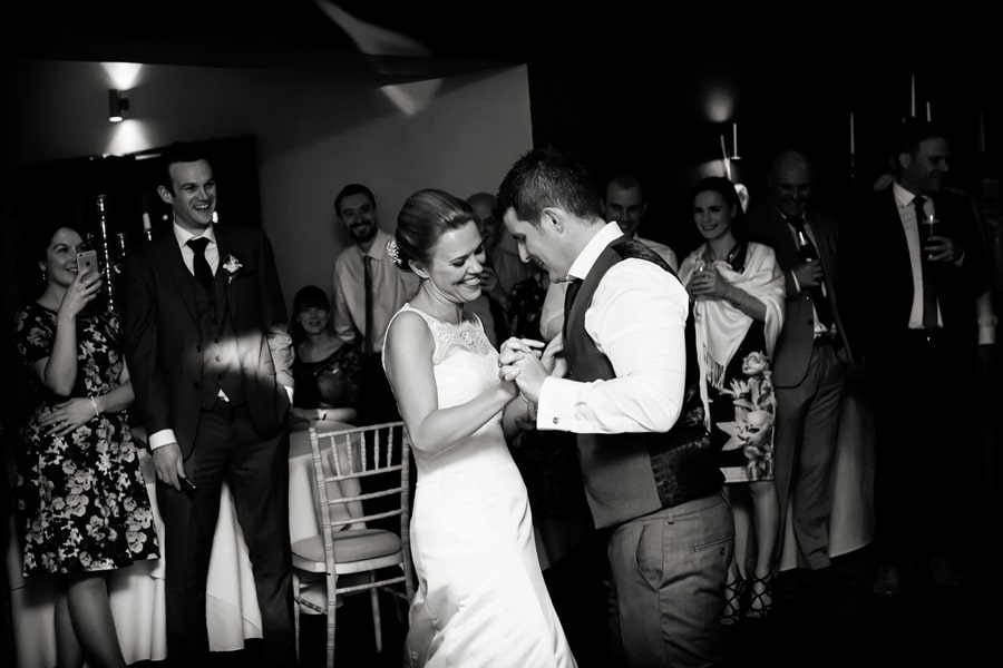 bride and groom's first dance at old vicarage boutique