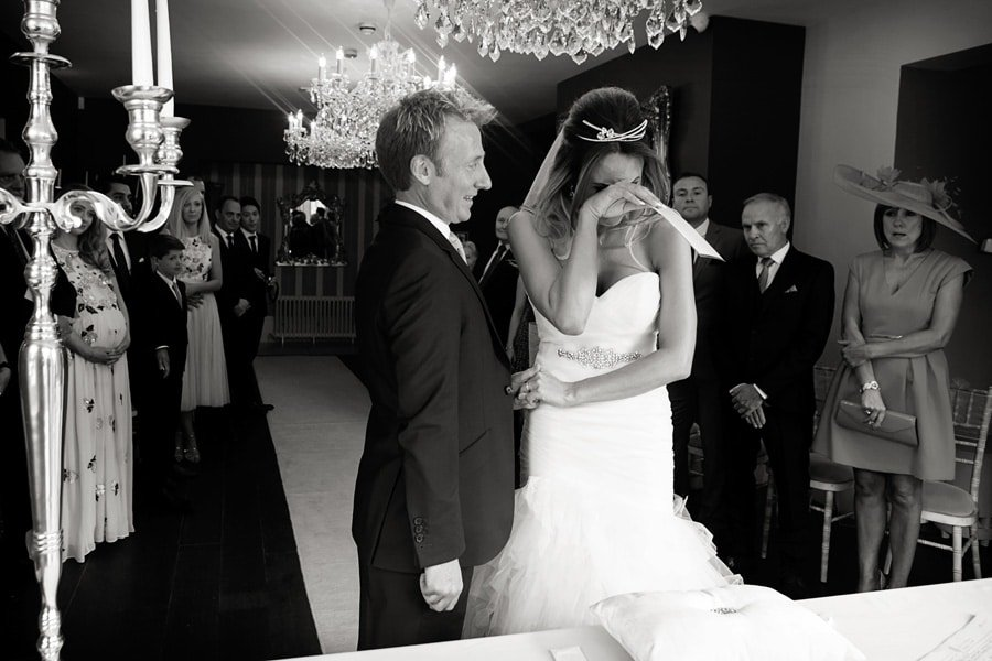 bride crying ceremony at old vicarage boutique