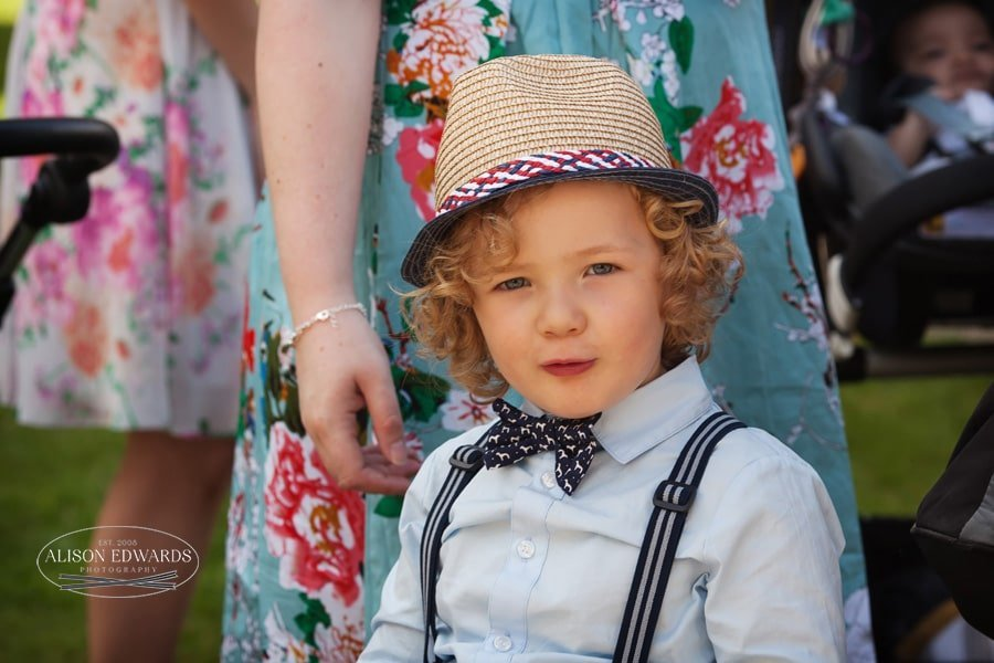 Boy wearing straw hat