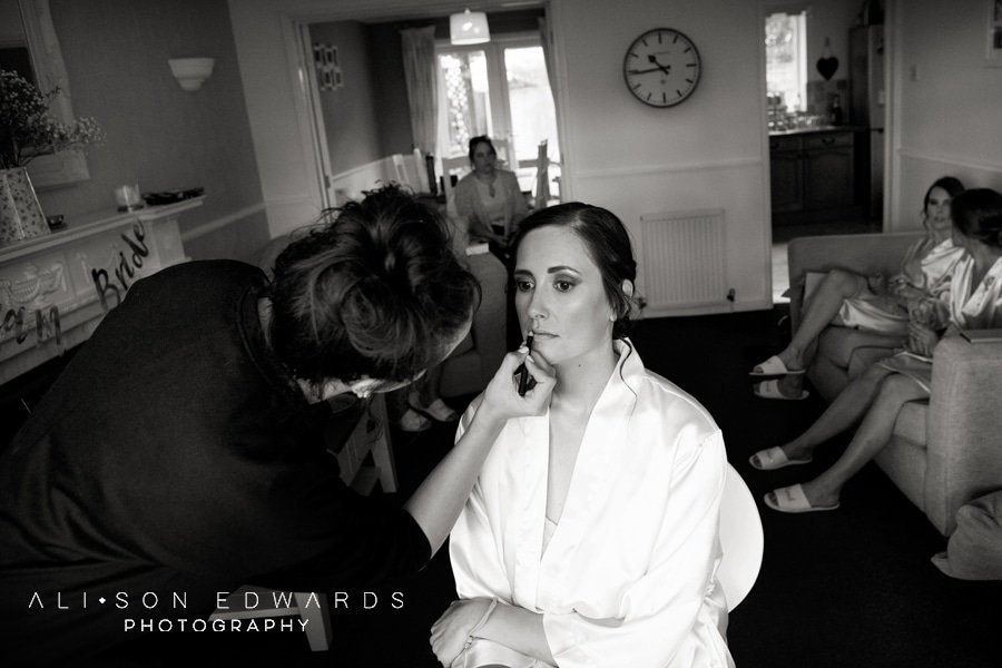 bride getting read for wedding in Nottingham