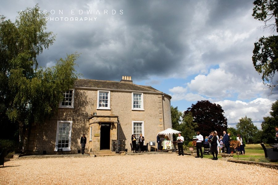 cockcliffe country house wedding photography wedding guests outside