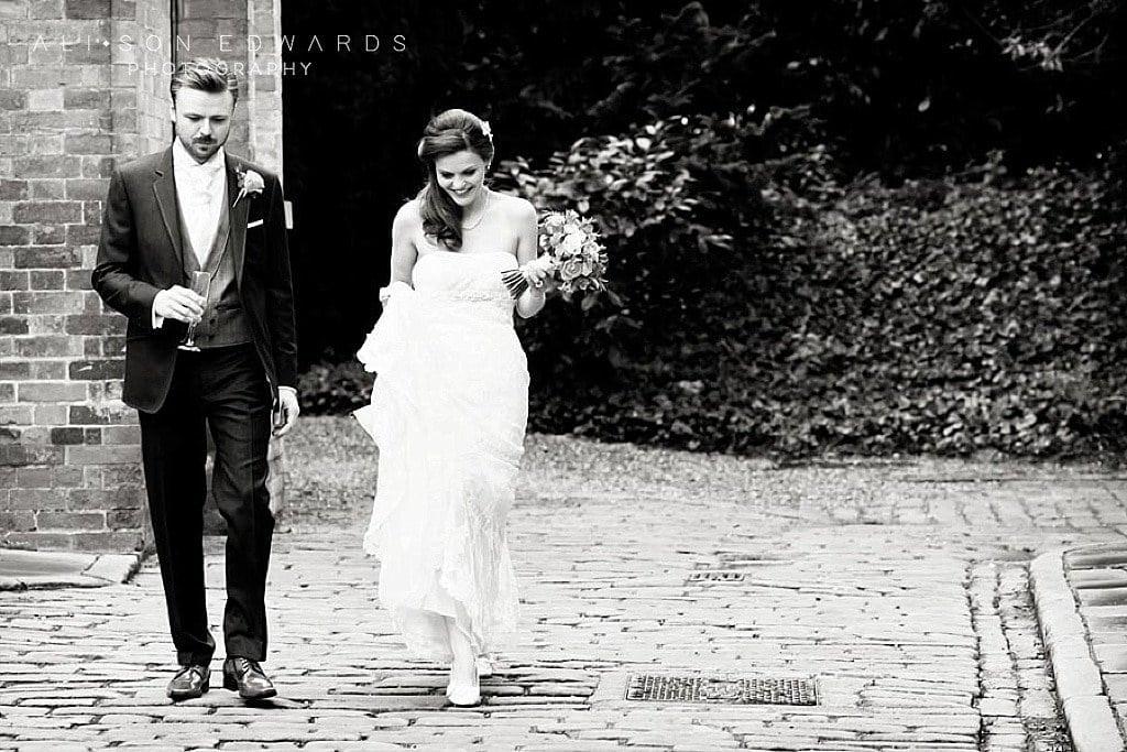 bride and groom walking to venue