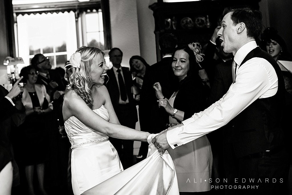 bride and from laughing doing first dance at Prestwold Hall