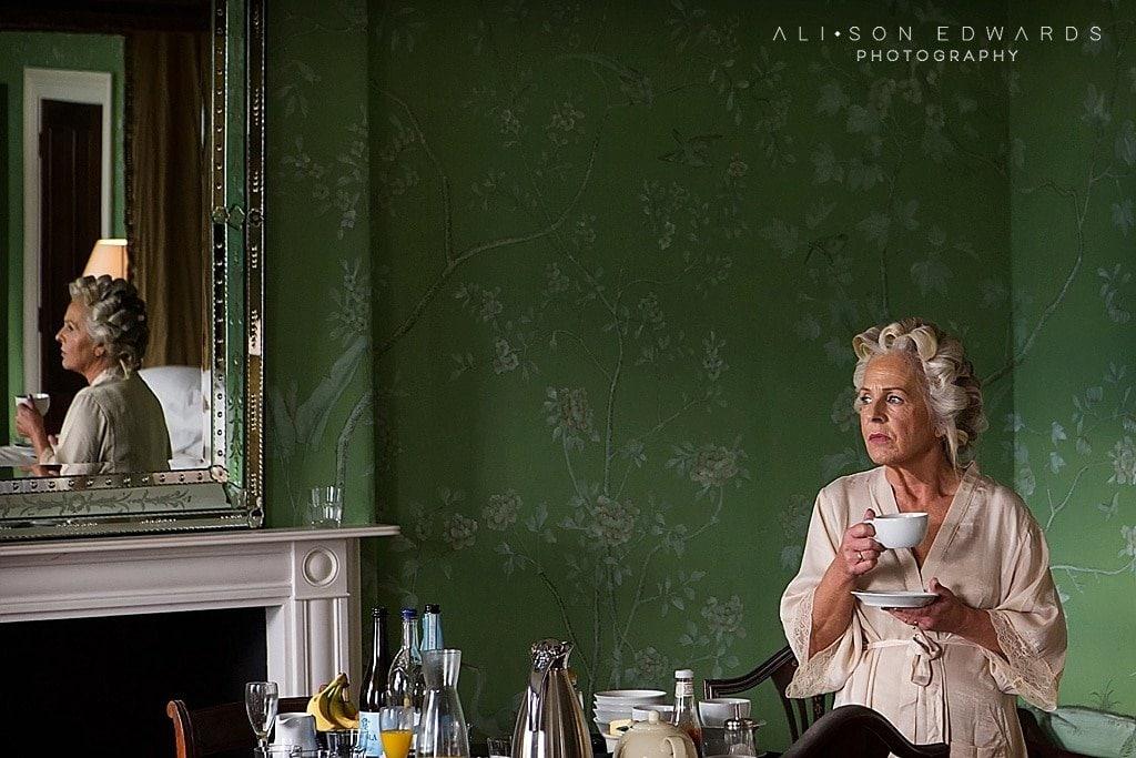 bride's mum drinking tea at stubton hall