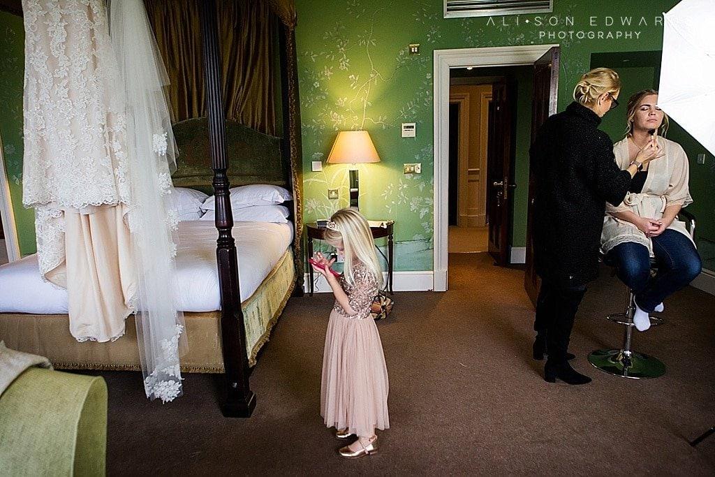 bridesmaid on phone