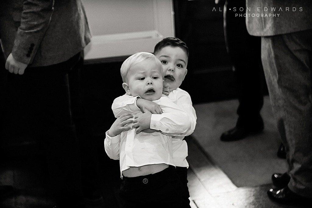page boys hugging