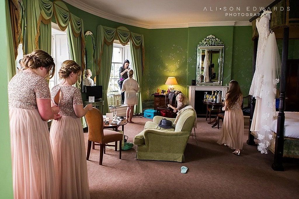bridesmaids in bridal suite at Stubton Hall Newark