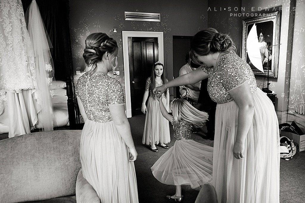 bridesmaids dancing in bridal suite at Stubton Hall