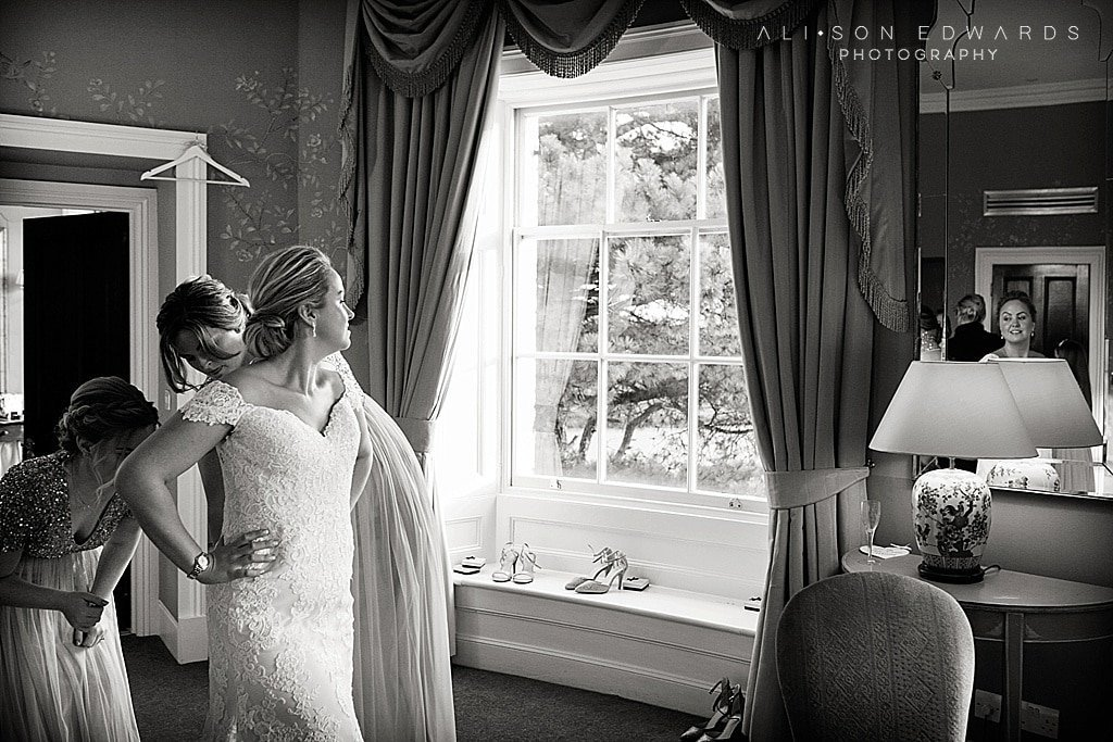 bride getting ready at stubton hall nottingham