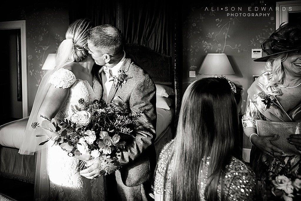dad hugging bride at Stubton Hall