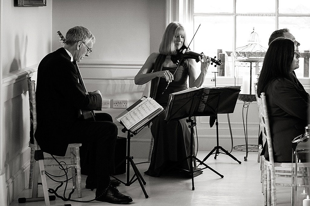 musicians playing at Stubton Hall ceremony