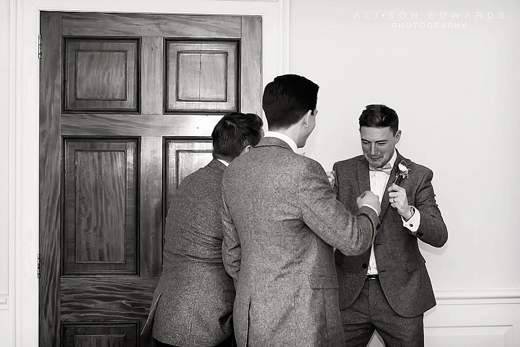 groomsmen laughing in ceremony at Stubton Hall