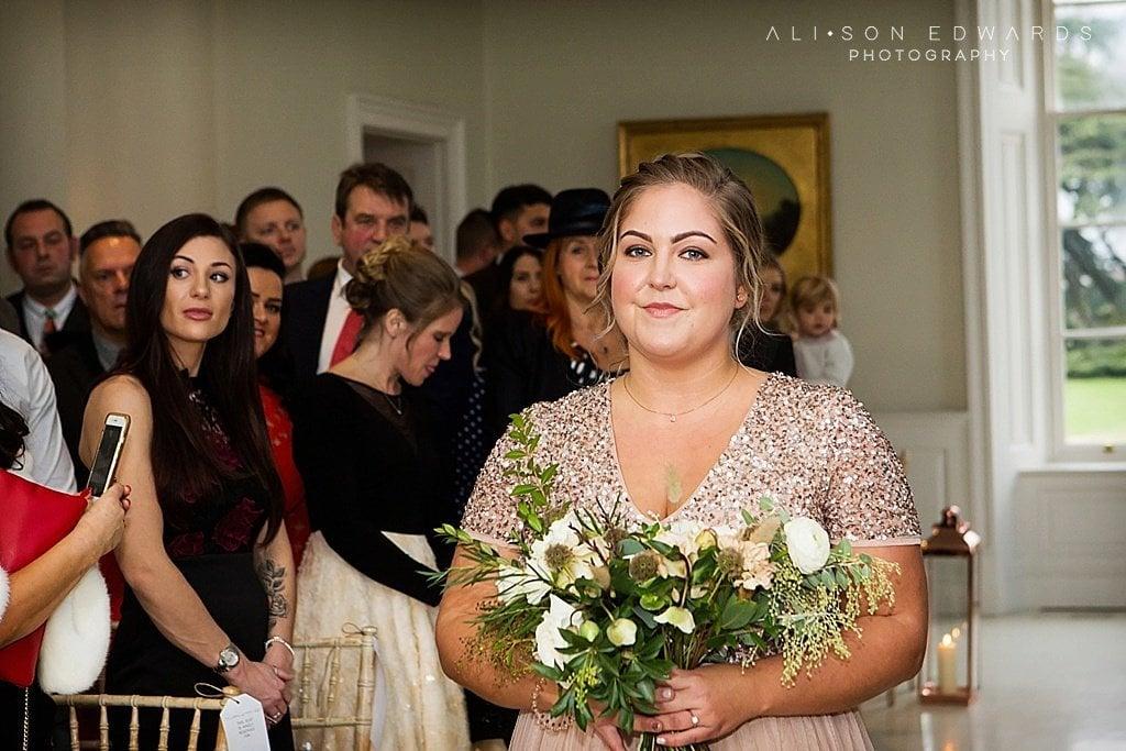 bride walking down aisle at Stubton Hall