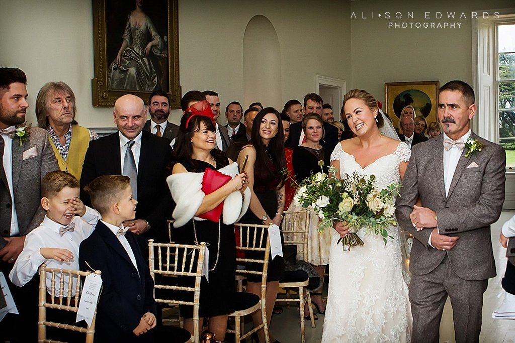 bride walking down aisle with dad at stubton hall