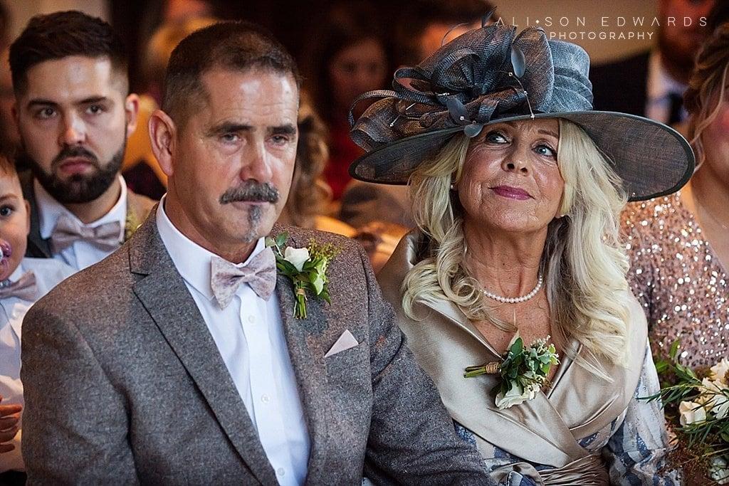 mum looking at bride in ceremony