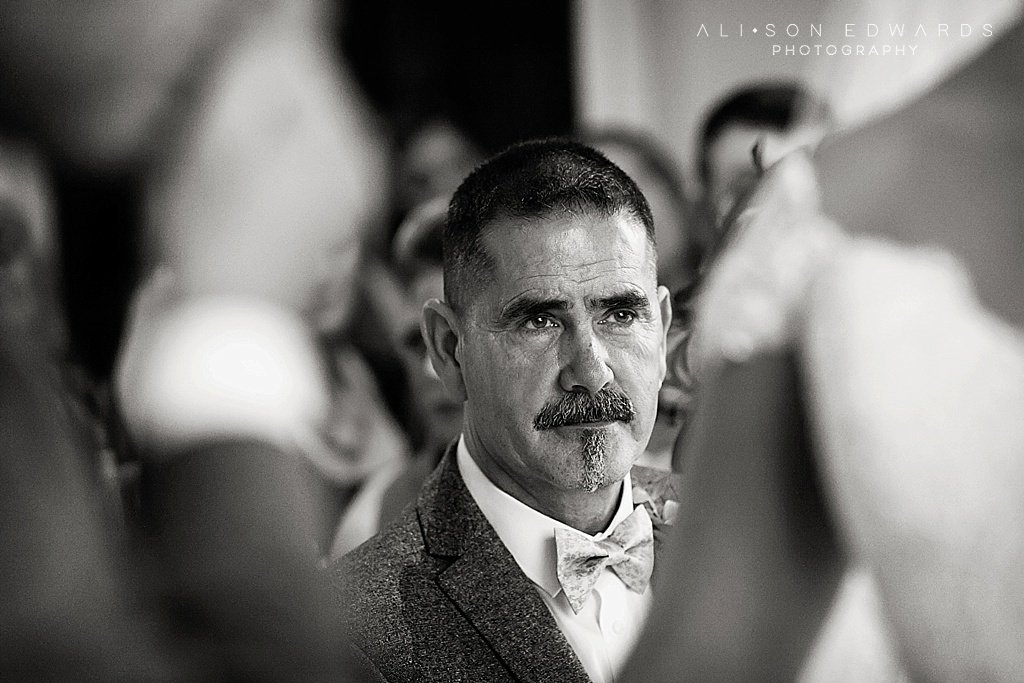 bride's dad in ceremony at stubton hall