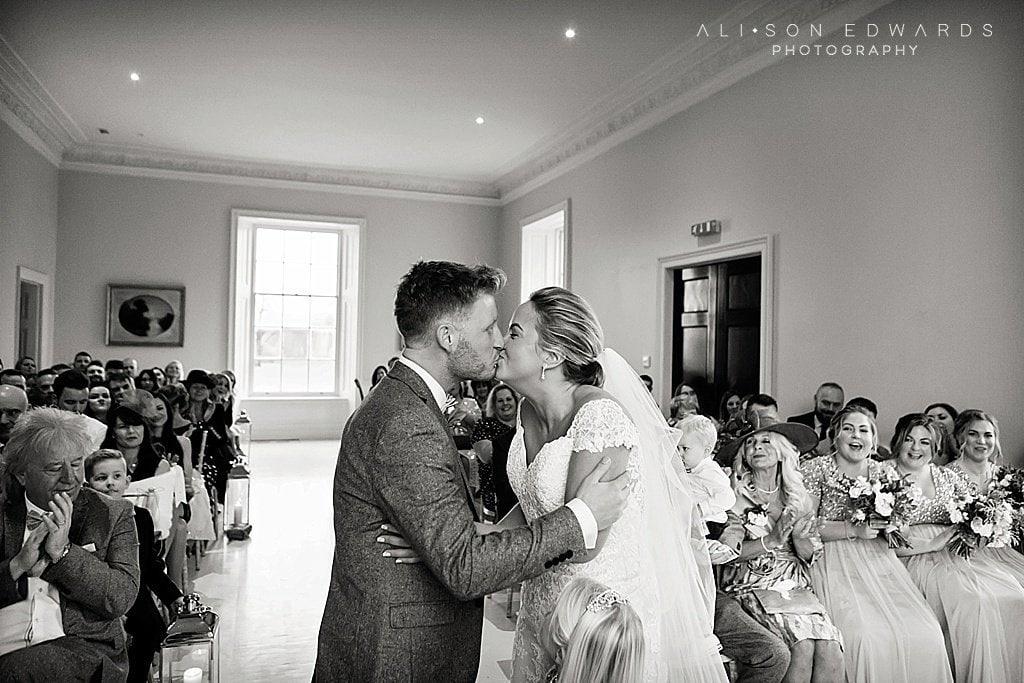 bride and groom kissing at stubton hall wedding