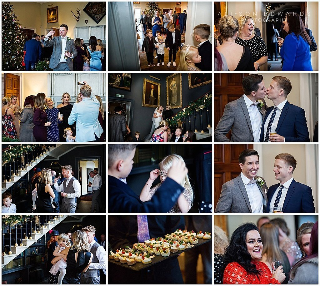 collage of photos of guests at wedding reception