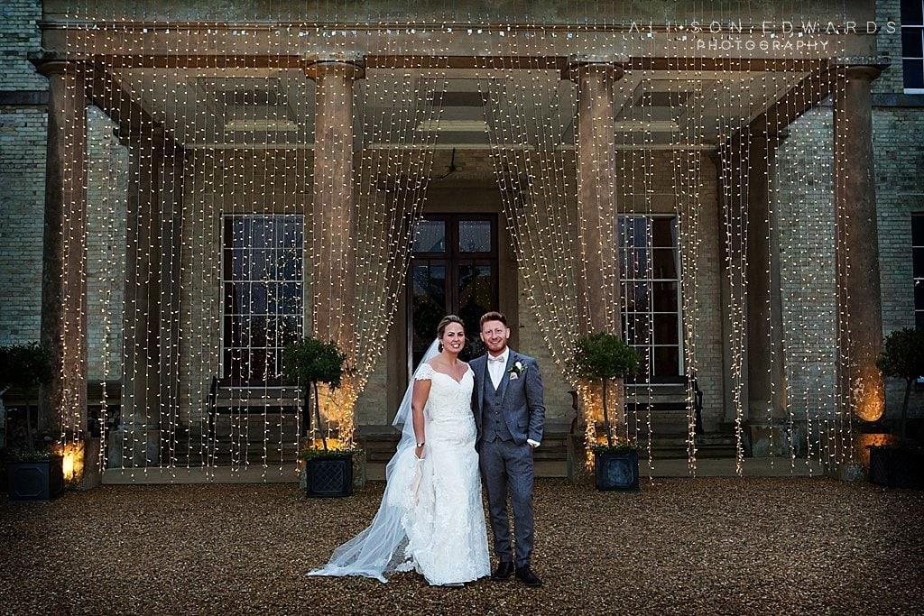 bride and groom at christmas stubton hall