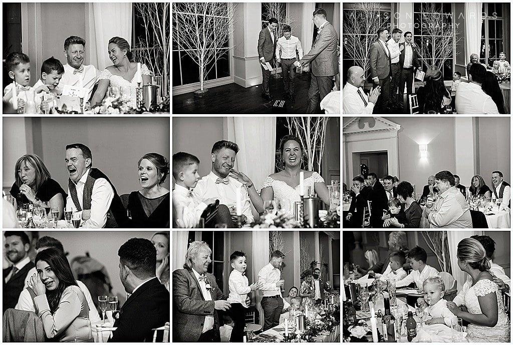 mixture of wedding speech photos at Stubton Hall