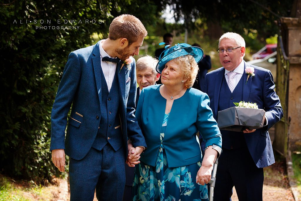 groom and grandma walking to church in Papplewick Nottinghamshire