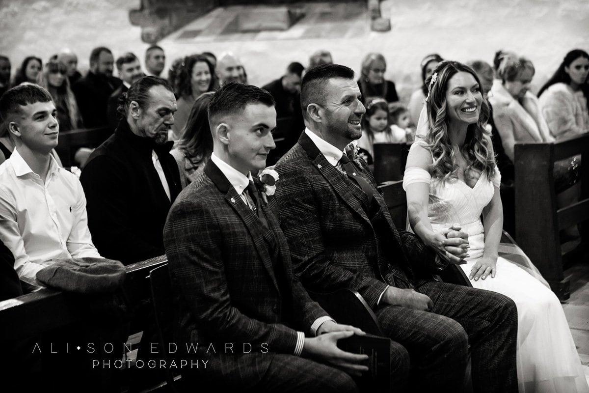 bride groom and bestman draycott church wedding