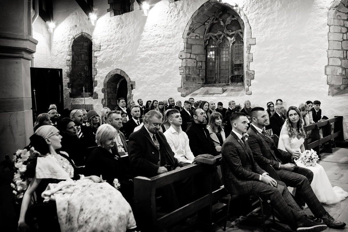 wedding congregation at draycott church wedding