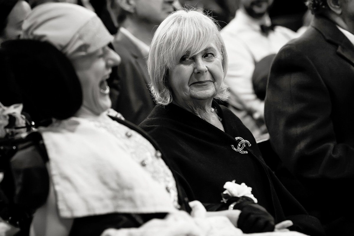 guest smiling in church