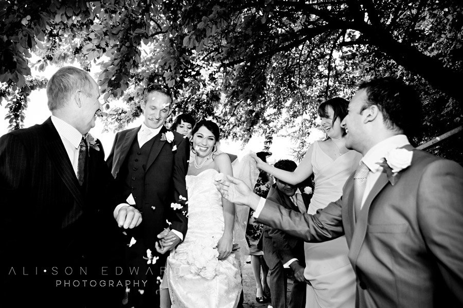 short coverage wedding photography bride and groom confetti