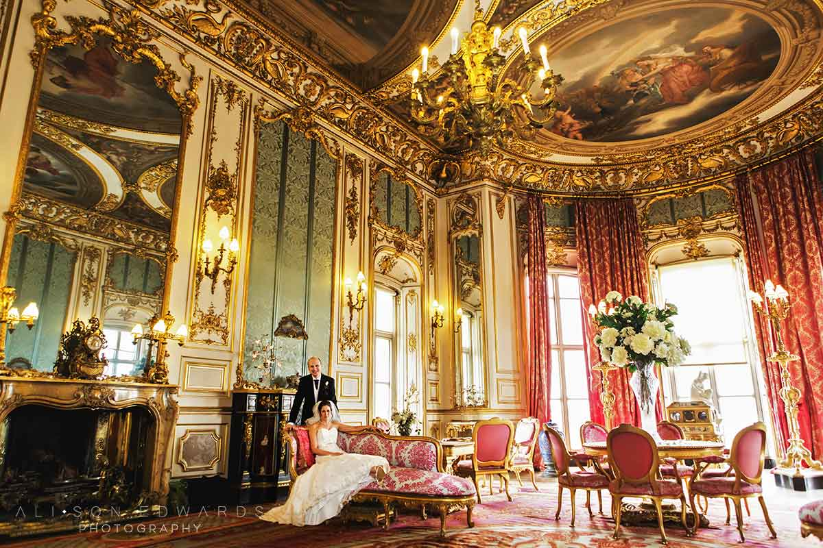 bride and groom in the pink room at belvoir castle