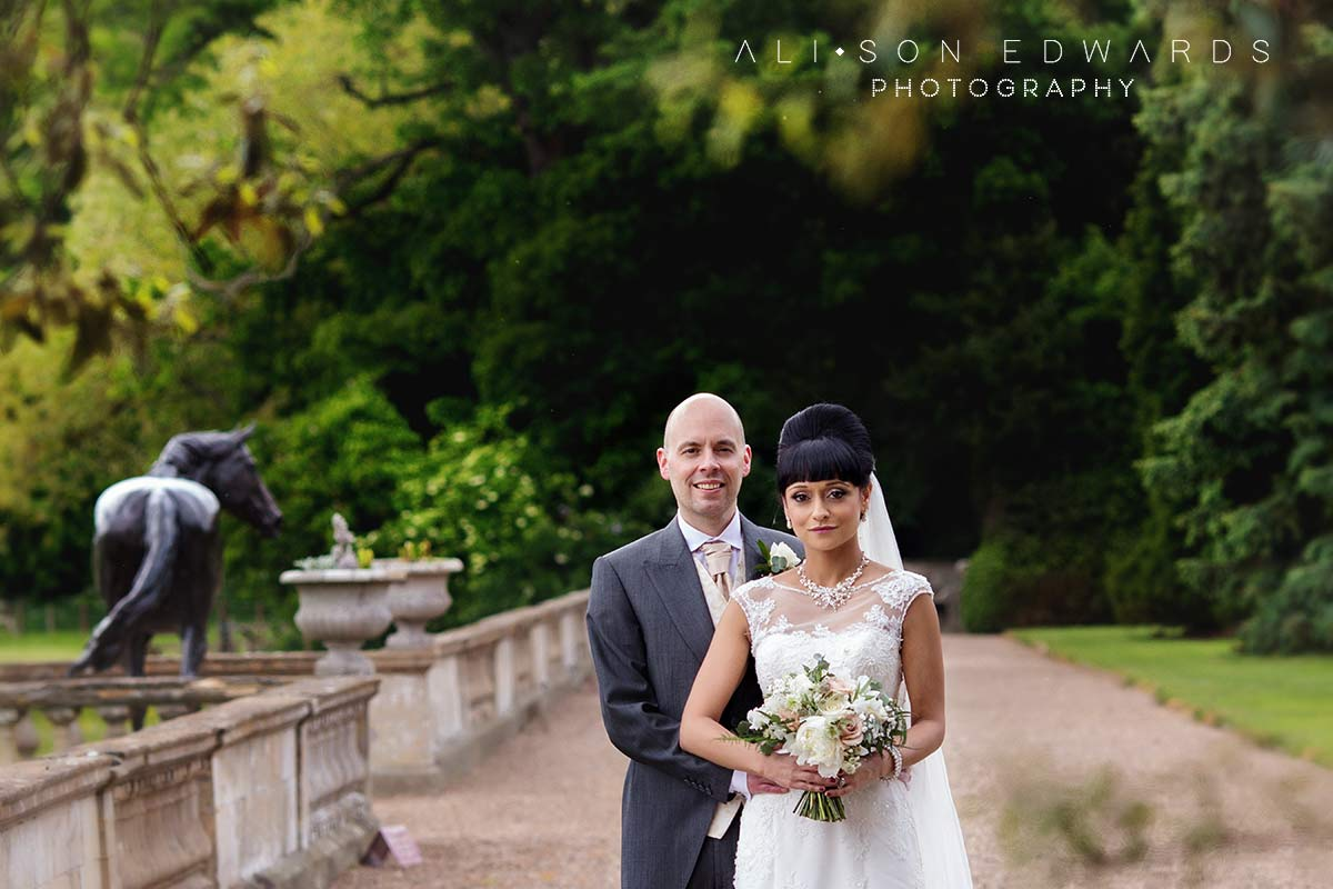 bride and groom at prestwold hall gardens