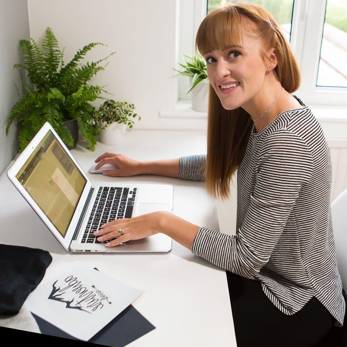 business woman in office on branding shoot