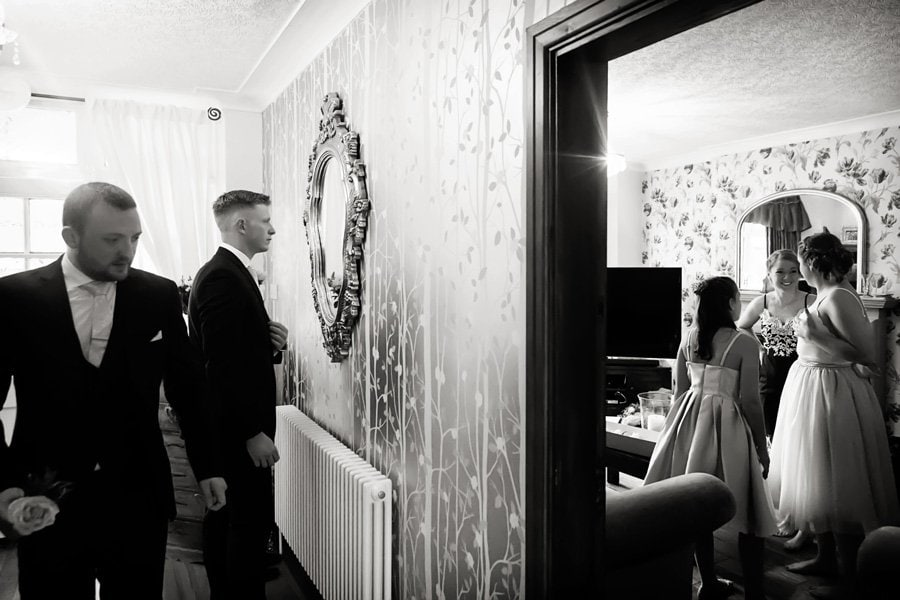 bridal party and groomsmen getting ready Nottingham wedding photographer