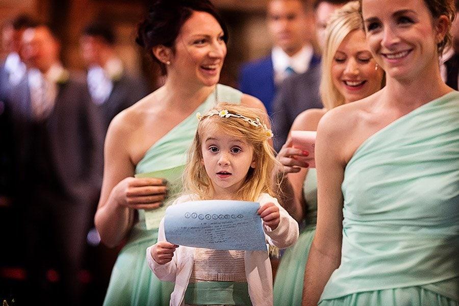 young girl singing in church Nottingham wedding photographer