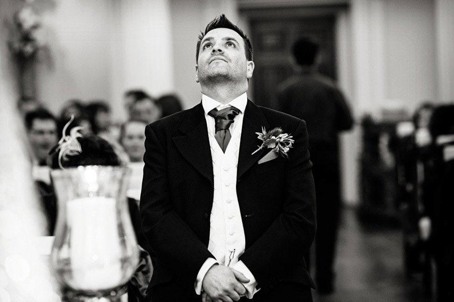 nervous groom waiting for bride Nottingham wedding photographer