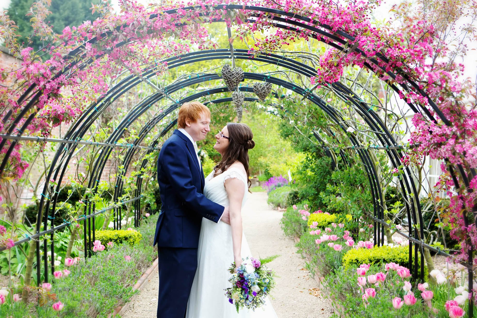 bride and groom at the walled gardens east midlands wedding venues